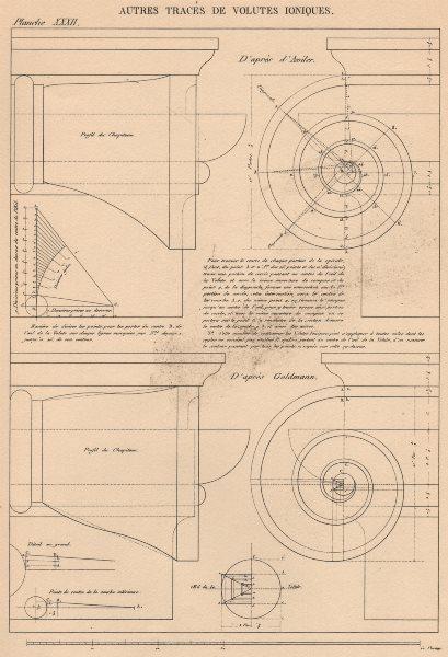 Associate Product IONIC ARCHITECTURE. Volutes (a. D'Aviler. b. Goldmann)  1931 vintage print