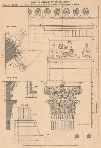 CORINTHIAN ARCHITECTURE. Choragic Lysicrates. Base Capital Entablature 1931