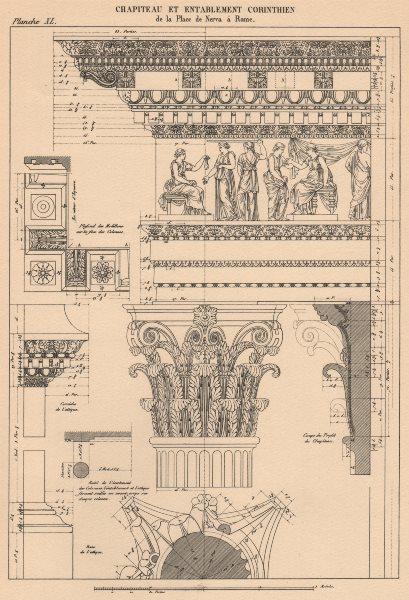 Associate Product CORINTHIAN ARCHITECTURE. Forum of Nerva, Rome. Capital and Entablature 1931