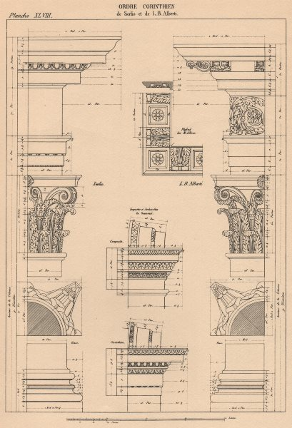 Associate Product CORINTHIAN ARCHITECTURE. Base Capital and Entablature.  (Serlio & Alberti)  1931