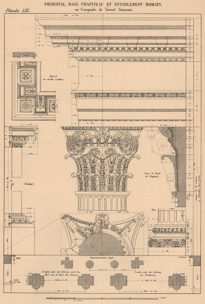 Associate Product COMPOSITE ARCHITECTURE. Pedestal Base Capital and Entablature (Scamozzi)  1931