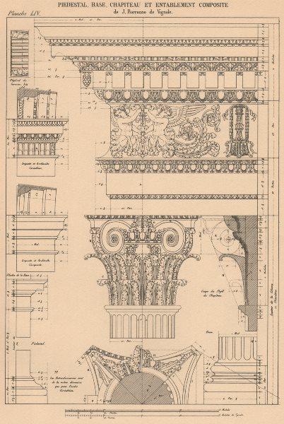 Associate Product COMPOSITE ARCHITECTURE.Pedestal Base Capital Entablature(Vignola,1507-1573) 1931