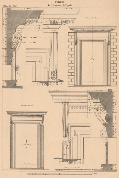 Associate Product CLASSICAL ARCHITECTURE. Doors after Vignola 1931 old vintage print picture