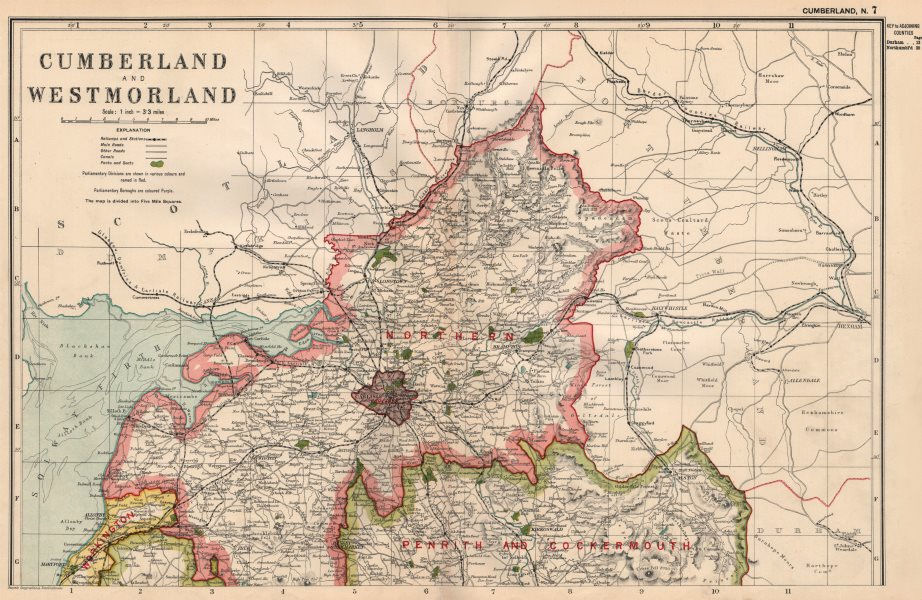 Associate Product CUMBERLAND (NORTH) . Showing Parliamentary divisions & parks. BACON 1936 map