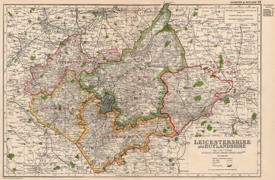 LEICESTERSHIRE AND RUTLANDSHIRE. Parliamentary divisions & parks. BACON 1936 map