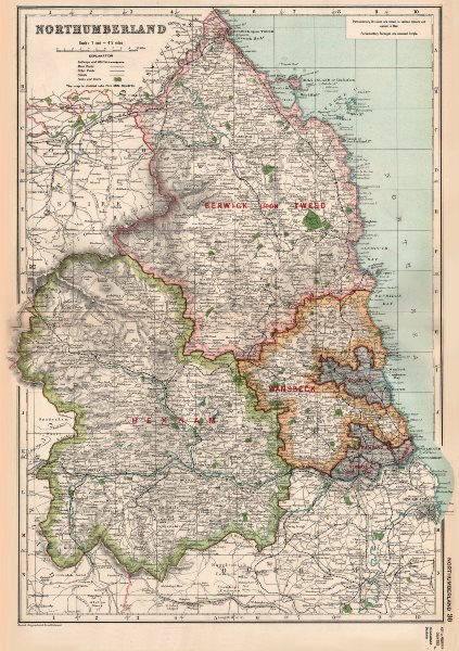 Associate Product NORTHUMBERLAND.Showing Parliamentary divisions,boroughs & parks.BACON 1936 map