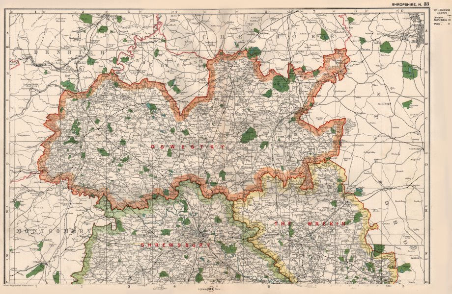 Associate Product SHROPSHIRE (NORTH) . Showing Parliamentary divisions & parks. BACON 1936 map