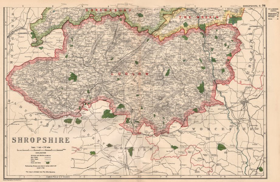 Associate Product SHROPSHIRE (SOUTH) . Showing Parliamentary divisions & parks. BACON 1936 map