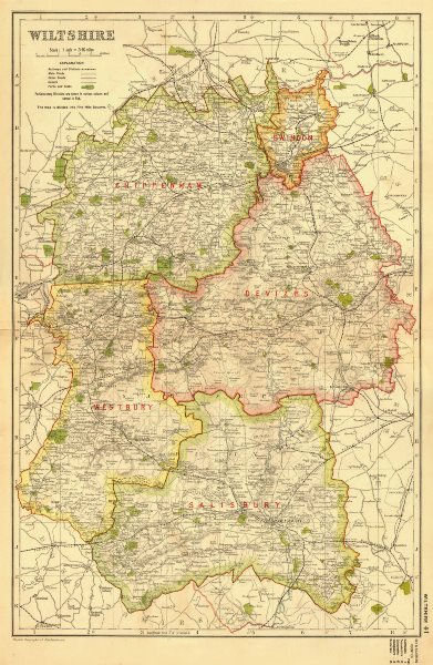 Associate Product WILTSHIRE. Showing Parliamentary divisions, boroughs & parks. BACON 1936 map