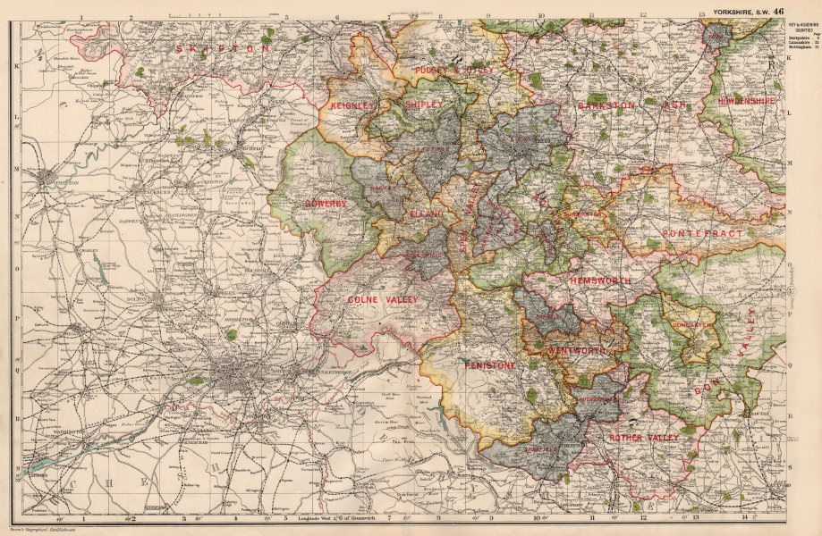 Associate Product YORKSHIRE (SOUTH WEST) . Showing Parliamentary divisions & parks. BACON 1936 map