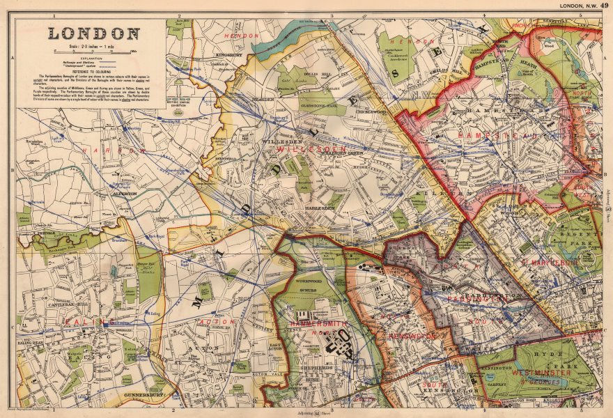 Associate Product LONDON (NORTH WEST) . Showing Parliamentary divisions & boroughs. BACON 1936 map