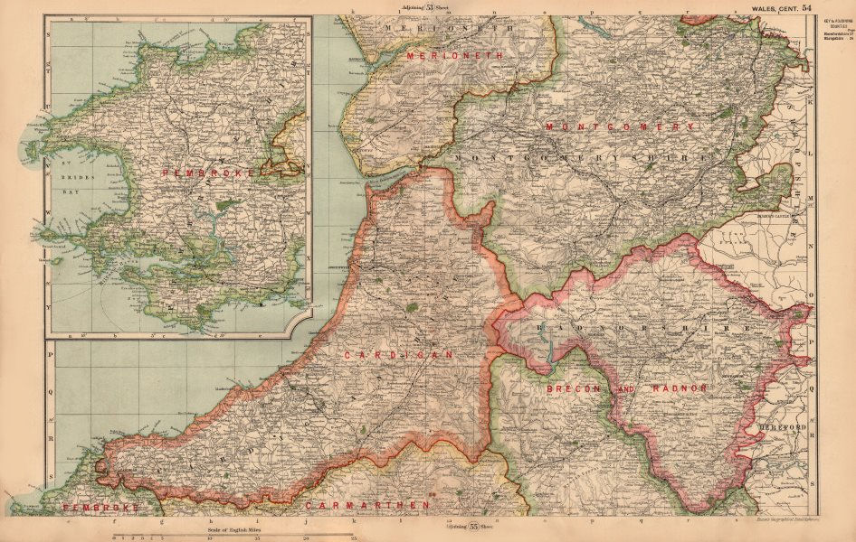 Associate Product CENTRAL WALES & PEMBROKESHIRE. Showing Parliamentary divisions. BACON 1936 map