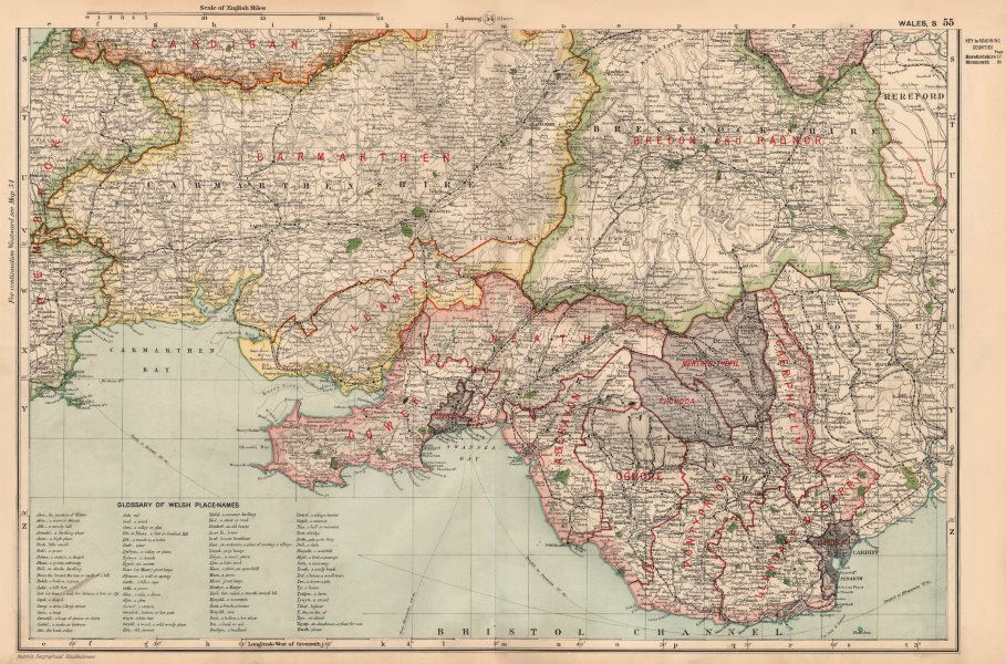 Associate Product SOUTH WALES. Parliamentary divisions. Welsh place name Glossary. BACON 1936 map