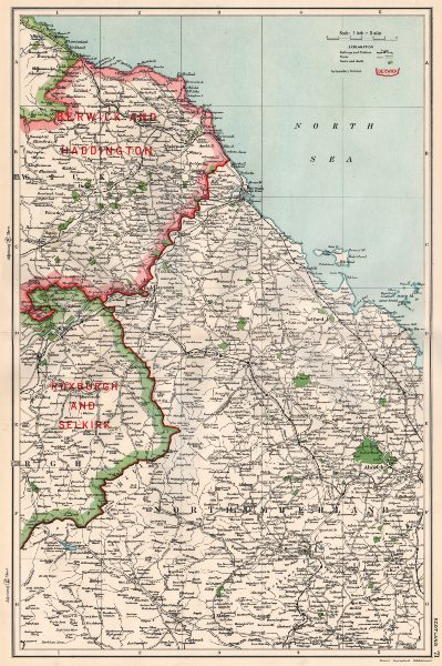 Associate Product SCOTTISH BORDERS.Berwickshire Roxburgh Northumbs.Constituencies.BACON 1936 map