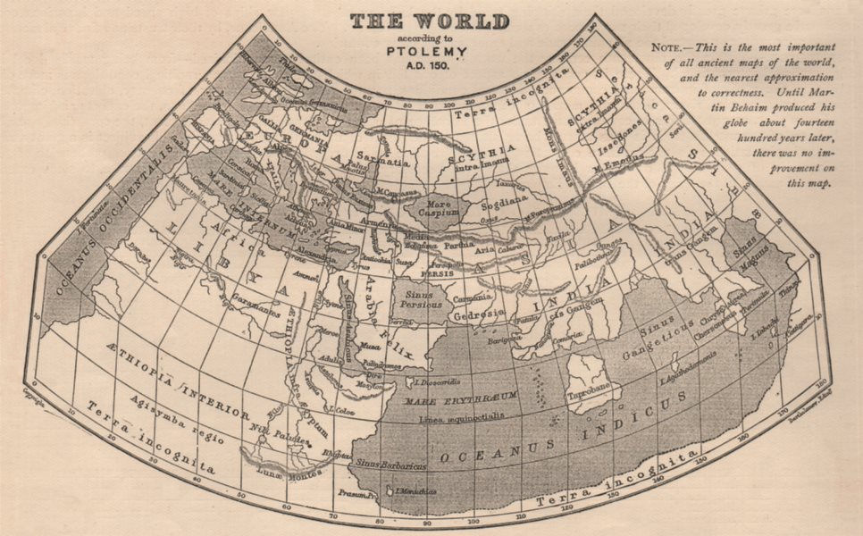 Associate Product ANCIENT WORLD. World according to Ptolemy AD150. Sketch map. BARTHOLOMEW 1901