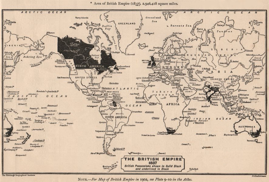 Associate Product BRITISH EMPIRE. The British Empire in 1837. Sketch map. BARTHOLOMEW 1901