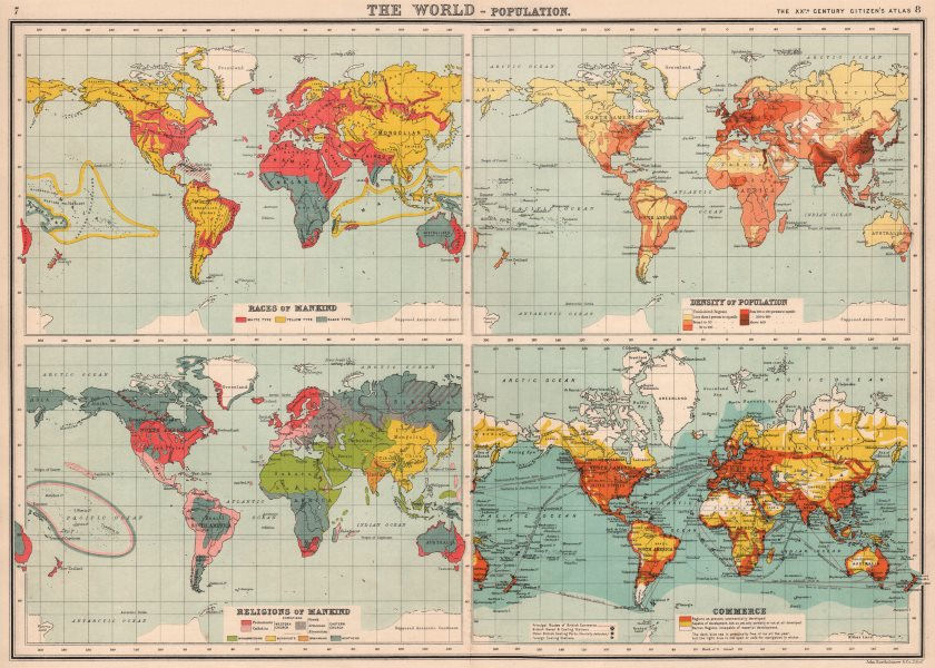 Associate Product WORLD POPULATION. Races Density Religions Commerce coaling stations 1901 map