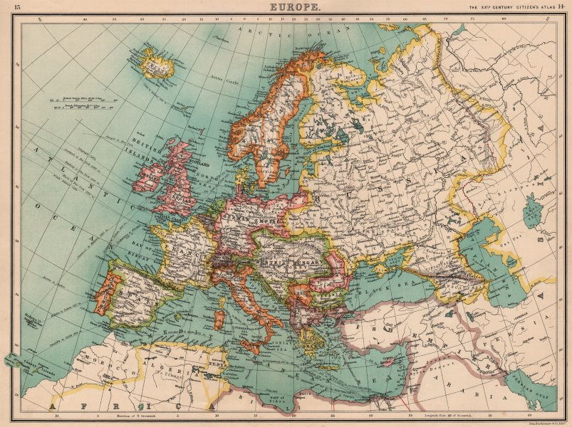 Associate Product EUROPE. Political map. Shipping routes. Telegraph cables. BARTHOLOMEW 1901