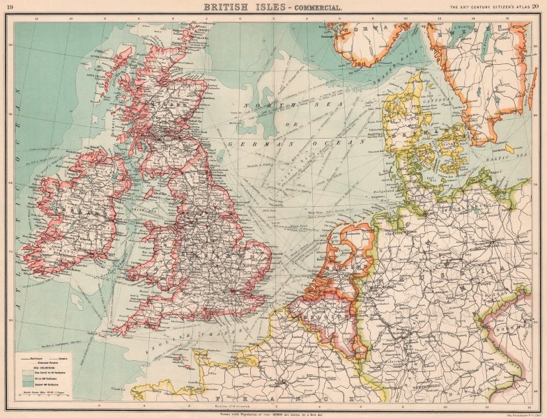 Associate Product BRITISH ISLES & NW EUROPE TRANSPORT. Steamer routes canals railways 1901 map