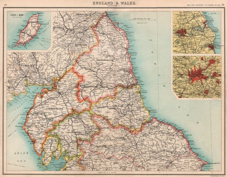 Associate Product ENGLAND NORTH. Cumbs Northumbs Durham Westm Yorks Newcastle Manchester 1901 map