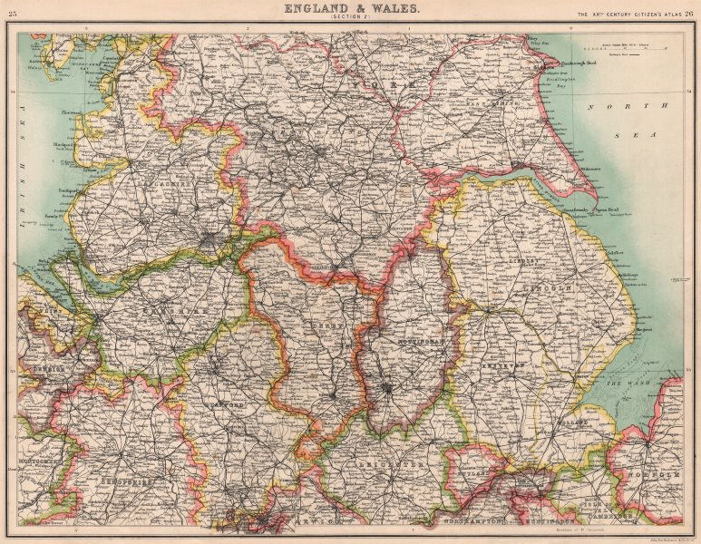 Associate Product ENGLAND NORTH. Lancashire Yorkshire Lincs Notts Derbys Cheshire Staffs 1901 map