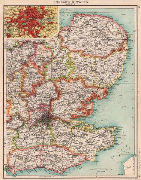 Associate Product ENGLAND EAST. Home Counties & East Anglia. Inset London. BARTHOLOMEW 1901 map