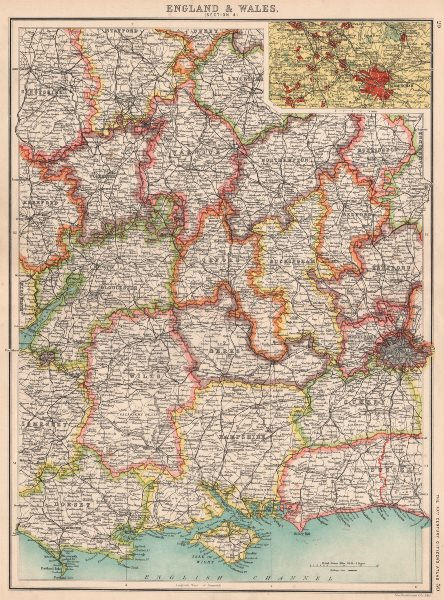 Associate Product ENGLAND SOUTH. Thames Valley Midlands S Coast Cotswolds. Birmingham 1901 map