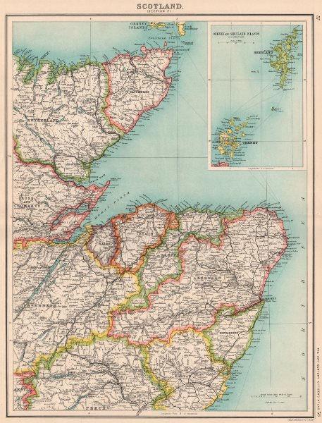 Associate Product SCOTLAND NE. Highlands Aberdeen Moray Angus Perth. Orkneys Shetlands 1901 map