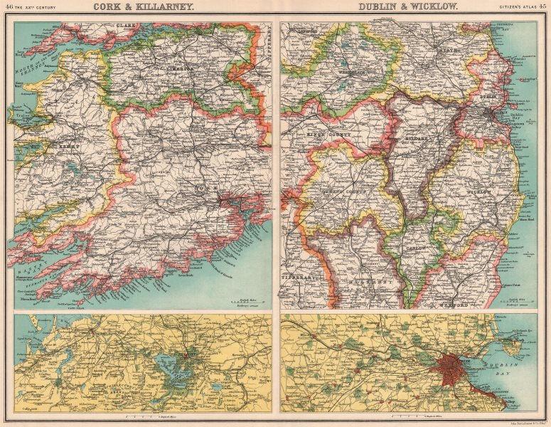 Associate Product IRELAND.Cork & Killarney;Dublin & Wicklow.Kerry Limerick Kildare Offaly 1901 map