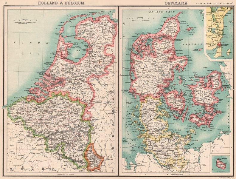 Associate Product BENELUX/DENMARK.Holland Belgium Schleswig-Holstein.Copenhagen Bornholm 1901 map