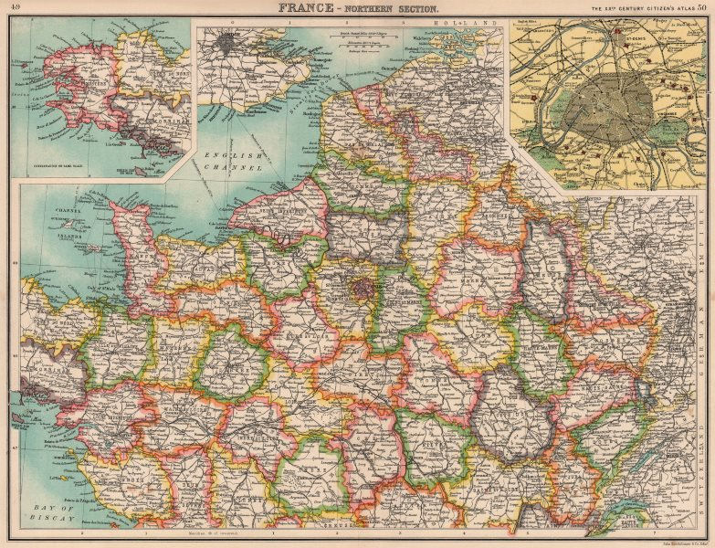 Associate Product NORTHERN FRANCE.Departements.Paris showing fortifications.BARTHOLOMEW 1901 map