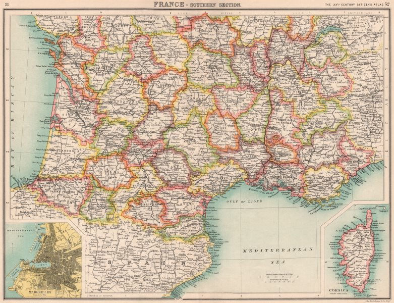 Map Of France Showing Marseille.Details About France South Showing Departements Inset Marseilles Corsica Bartholomew 1901 Map