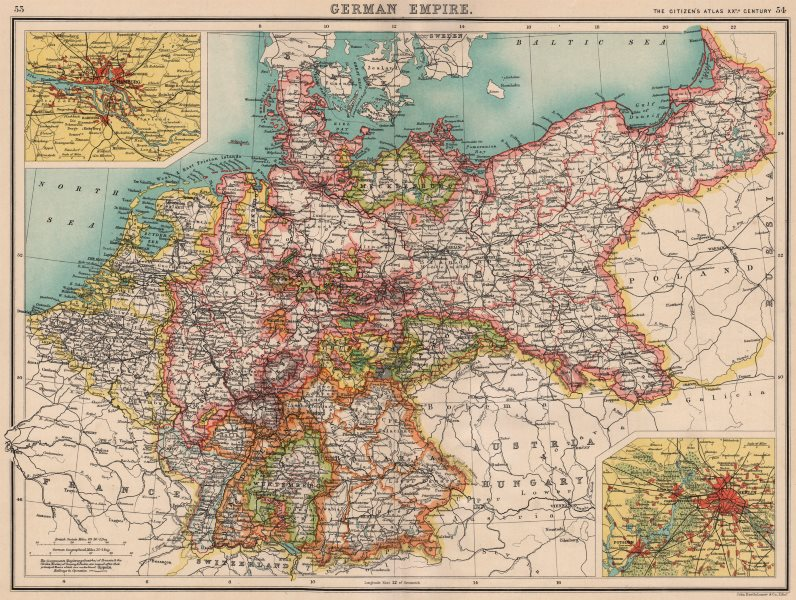 Hamburg Map Of Germany.Details About German Empire States Germany Prussia Hamburg Berlin Bartholomew 1901 Map