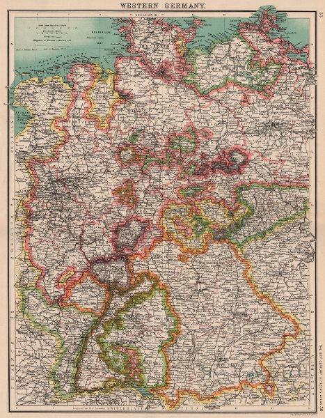 Associate Product WESTERN GERMANY. Showing states. Brandenburg Hanover Westphalia Bavaria 1901 map