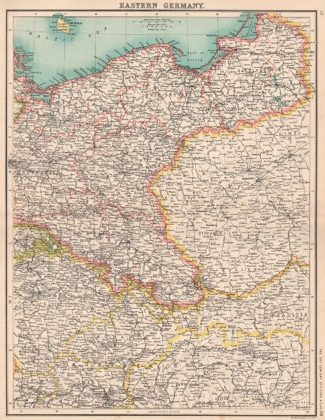 Associate Product EASTERN GERMANY.Showing states.Prussia Silesia Pomerania Poznan.Poland 1901 map