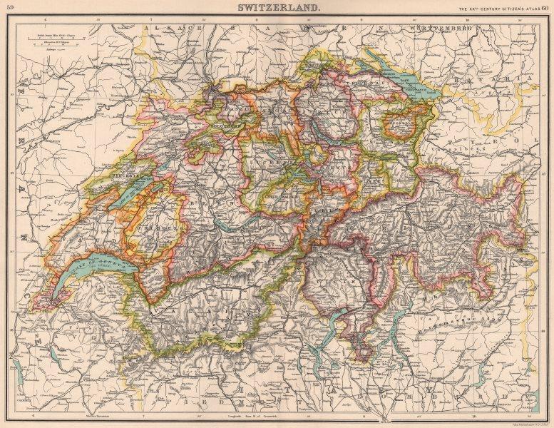 Associate Product SWITZERLAND. Showing cantons & railways. BARTHOLOMEW 1901 old antique map