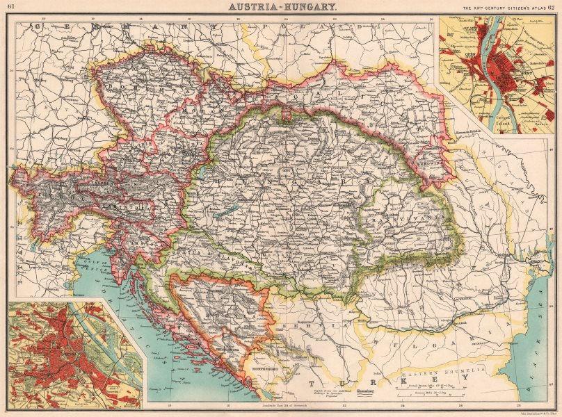 AUSTRIA-HUNGARY. Inset Vienna; Ofen (Buda) Pest Budapest. BARTHOLOMEW 1901 map
