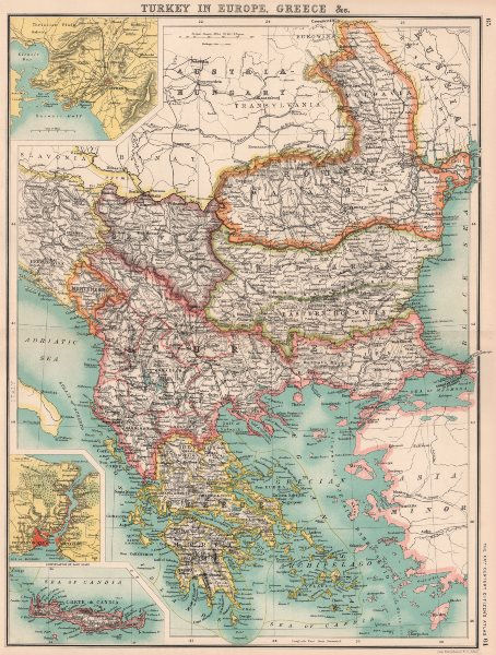 Associate Product BALKANS. Turkey In Europe Greece E Roumelia. Constantinople (Istanbul)  1901 map