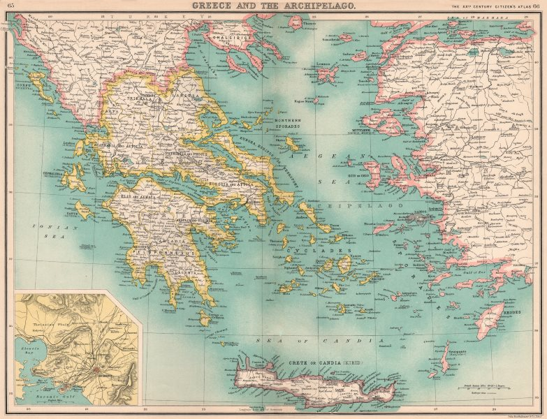 Associate Product GREECE. Samos & Crete shown as independent. Eastern Aegean as Turkish 1901 map