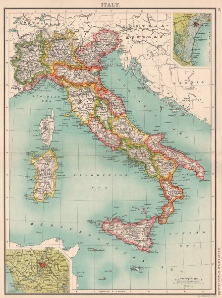 Associate Product ITALY. Showing regions & railways. Inset Venice; Rome. BARTHOLOMEW 1901 map