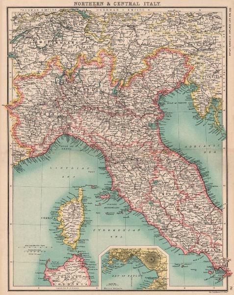Associate Product NORTHERN ITALY. Showing railways. Inset Bay of Naples. BARTHOLOMEW 1901 map