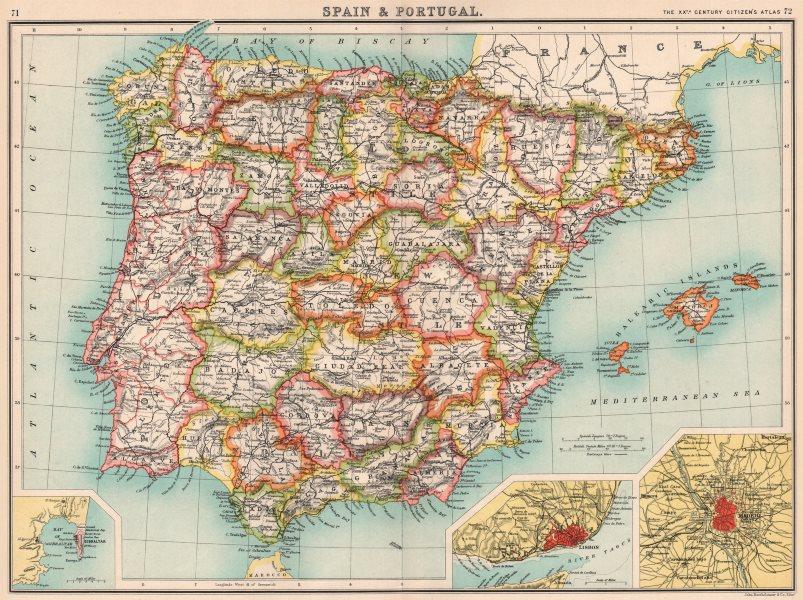 Associate Product IBERIA.Spain showing provinces & Portugal;Inset Gibraltar Lisbon Madrid 1901 map