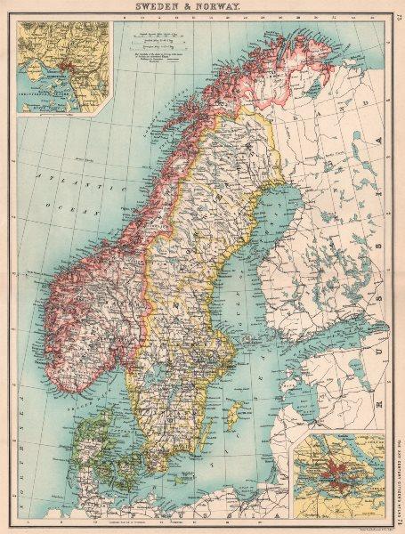 Associate Product SCANDINAVIA.Sweden Norway & Denmark;Inset Christiania(Oslo);Stockholm 1901 map