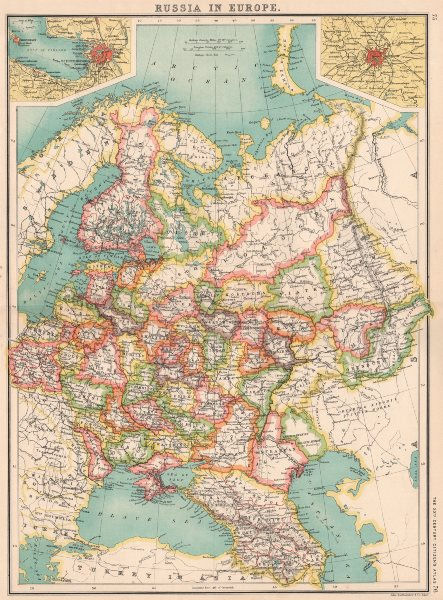 Associate Product RUSSIA IN EUROPE.Caucasia Livonia Courland.St.Petersburg;Moscow Москва 1901 map