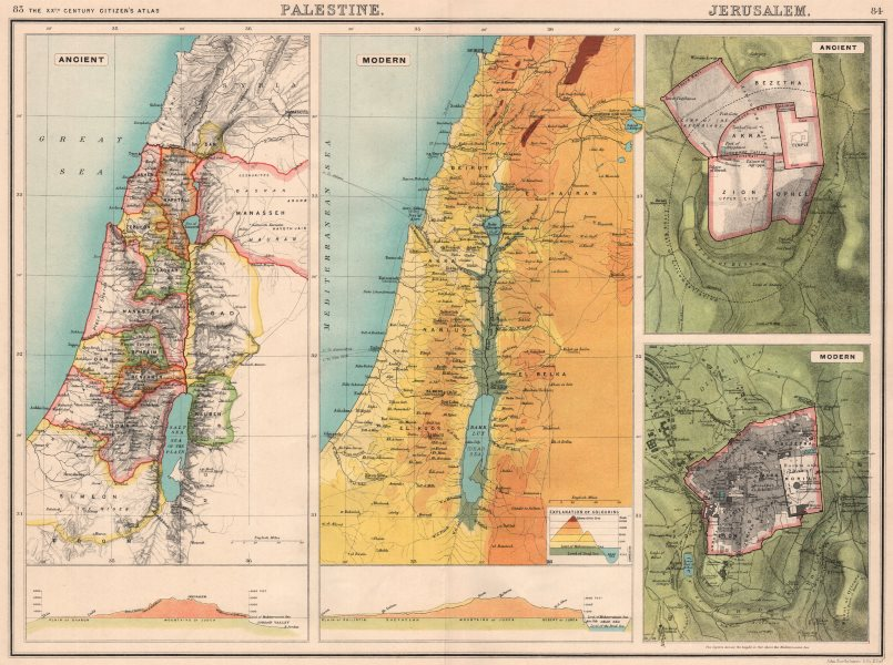 PALESTINE & JERUSALEM. 12 tribes of Israel. W-E sections. Relief map 1901