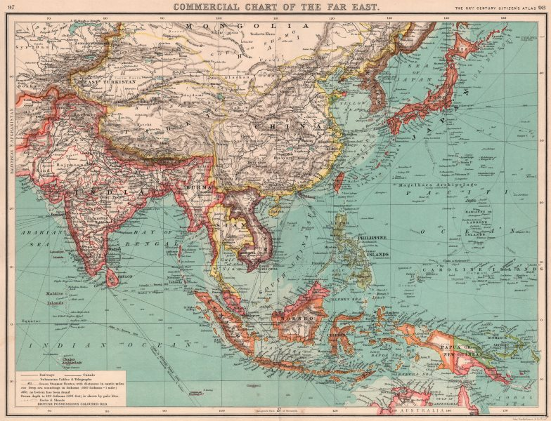Associate Product ASIA/FAR EAST COMMERCIAL.Railways steamer routes Telegraph cables canal 1901 map