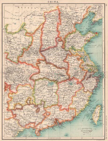 Associate Product CHINA.Shows enclaves.HK Weihaiwei(Br)Kwangchauwan(Fr)Kiaochan(Ge) 1901 old map