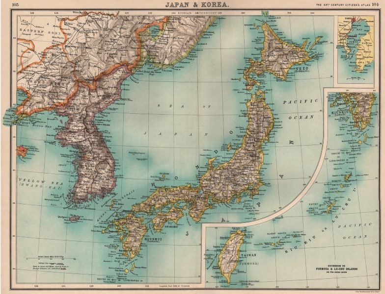 Associate Product JAPAN & KOREA. Inset Tokyo bay. Formosa Taiwan. Railways. BARTHOLOMEW 1901 map
