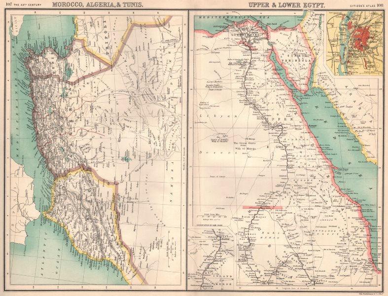 Associate Product NORTH AFRICA. Morocco Algeria Tunis Tunisia Egypt. Cairo. BARTHOLOMEW 1901 map
