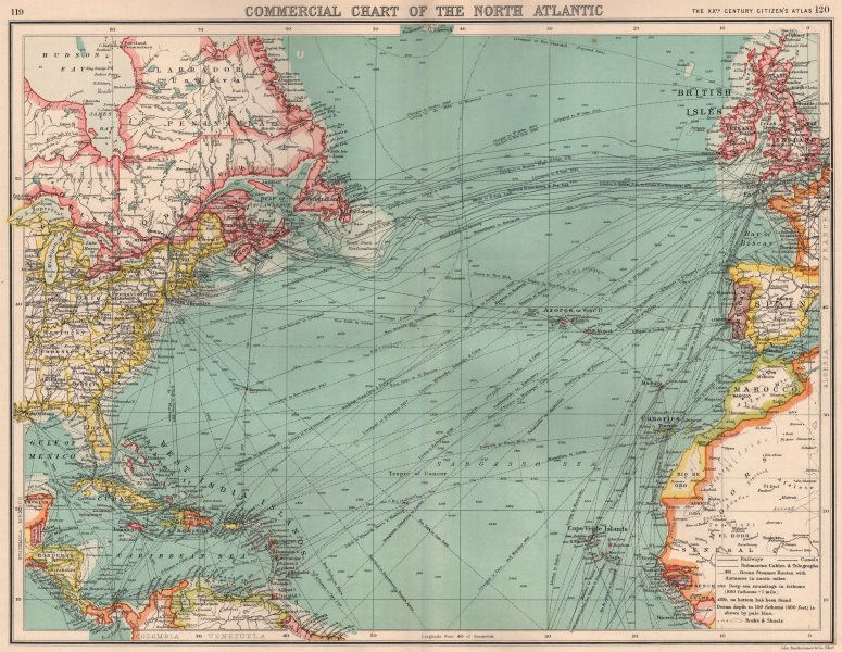 Associate Product NORTH ATLANTIC COMMERCIAL. Steamer routes TelegraphsRailways Canals 1901 map